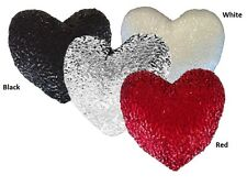 New Sequined HEART Filled Scatter Cushion Red, Black or White
