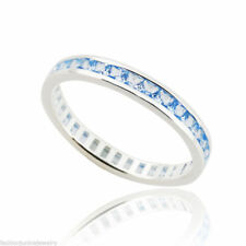 March Birthstone Ring - 925 Sterling Silver - Stacking Aquamarine Eternity Band