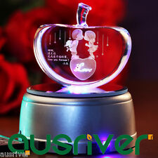 Custom Made Laser Engraved Crystal Apple Figurine Crafts Birthday Christmas Gift