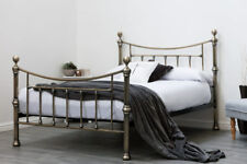 Stylish Brushed Antiqued Brass Metal Bed Frame Double King Size