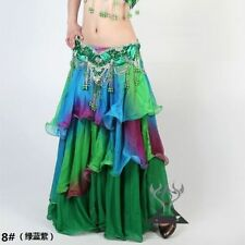 NWT Belly Dance Gradient Silk like Skirt Costume Soft Chiffon 3 layers 18 Colors
