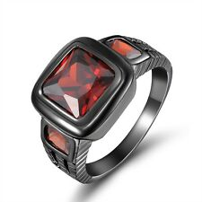 Size 8,9,10,11,12 Red Garnet Black 10KT Gold Filled For Women Men's Wedding Ring