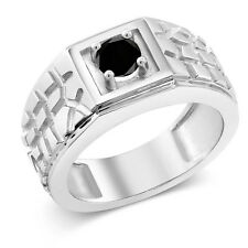 0.55 Ct Round Black AAA Diamond 925 Sterling Silver Men's Solitaire Ring