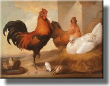 Rooster and Chicken Country Picture on Stretched Canvas Framed Ready to Hang