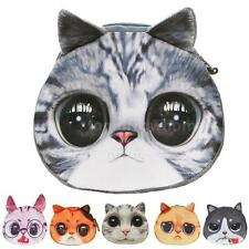 Women Cute Cat Face Purse Mini Coin Girls Money Key Bag Zip Wallet Clutch Pouch