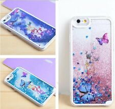 For iPhone 6 6S -HARD CASE COVER Flowing Sparkle Liquid Glitter Butterfly Hearts