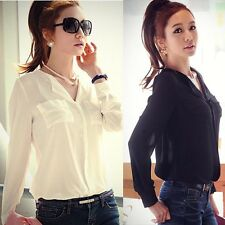 Elegant Women Blouse Long Sleeve OL Career Chiffon Shirt V-Neck Casual Blouse