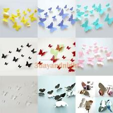 12Pc 3D Butterfly Vinyl Wall Stickers Art Decal Kid Bedroom DIY Decor Decoration