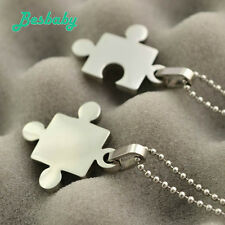 Stainless Steel Jewelry Puzzle Couples Double Heart Pendant Titanium Necklace