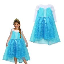 Disney Girls Dresses Frozen Princess Elsa Costumes child Kits Dress Cape #21