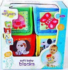 Baby Kid Child Toy Rattle Crinkle Squeaky Cloth Blocks Mix Match Sort Stack Toys