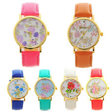 Fashion Analog Quartz WristWatch Women Watches Flower Print Leather Casual Watch