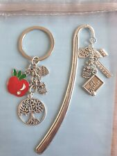 Thank You Teacher Teaching Assistant School Bag Charm Bookmark Pin Nursery Gift