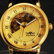 Golden/ Black Skeleton Analog Mens Mechanical Automatic Wrist Steel Band Watches