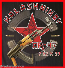 RARE NEW BLACK T-SHIRT RUSSIAN AK 47 KALASHNIKOV COTTON SOVIET ASSAULT RIFLE NWT