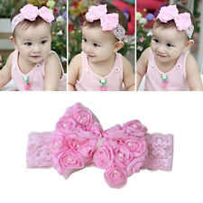 Newborn Baby Toddler Pink Cute Rose Bow Lace Peal Headband Hairband Headdress