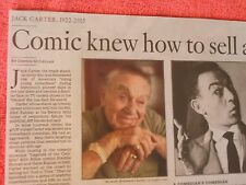 1922-2015 OBITUARY JACK CARTER COMIC KNEW HOW TO SELL A JOKE COMEDIAN ACTOR