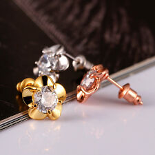 Fashion Big Shiny Crystal Beautiful Flower 18K Gold Plated Ear Stud Earring Gift