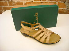 Clarks Ina Embrace Tan Leather Ankle Strap Sandal New