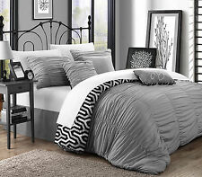 Chic Home 3 Piece Elissa Pleated Ruffled Reversible King/Queen Duvet Set Silver