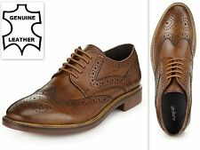 Mens Brogue Shoes Tan Brown Real Leather Lace Up