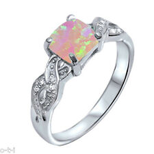 Infinity Celtic Princess Cut Pink Moon Fire Opal Genuine Sterling Silver Ring