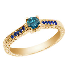0.36 Ct Round Blue SI1/SI2 Diamond Sapphire and 14K Yellow Gold Engagement Ring