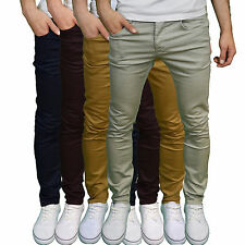 Enzo Mens Designer Branded Stretch Slim Chinos  - Available in 4 Colours BNWT