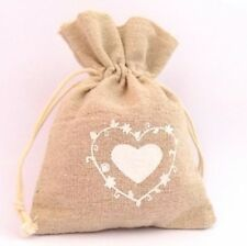 10 25 50 75 100 x Rustic Hessian Heart Bag Wedding Favour Party Gift