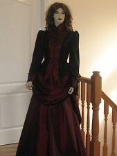 VICTORIAN / STEAMPUNK BUSTLE SKIRT OUTFIT / DRESS / COSTUME (BLACK & RED)