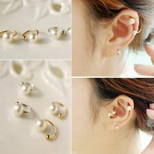 Hot 2pcs Silver Gold Pearl  Wrap Ear Cuff Earring Cartilage Clip On NO Piercing