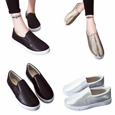 NEW WOMENS LADIES SLIP ON FLAT CASUAL SNEAKERS COLORFUL TRAINERS PUMPS SHOE SIZE