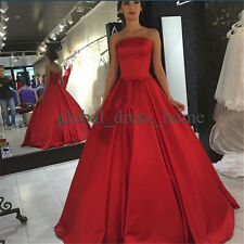 Satin Red Ball Gown Prom Evening Formal Gown Quinceanera Dresses Size4-6-8-10-16