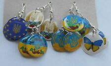 Earrings Ukrainian Flag national colors of the Ukraine УкраїнаTryzub Trident