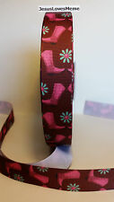 """Grosgrain Ribbon, Pink Rose Cowgirl Western Boots Turquoise Flower Daisy, 7/8"""""""
