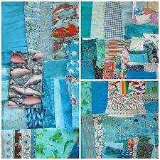 Quilt Craft Fabric Scrap Lot 1.25 lb Turquoise Teal Cotton Novelty Prints Solids