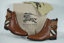 Burberry Richardson House Check Chestnut Ankle Boots  NIB $650 Authentic