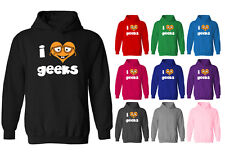 Womens I Love Hearts Geeks Cute Glasses Character Pullover Hoodie NEW UK 12-20