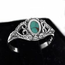 Royal Turquoise Oval Cut with Double Heart Cutouts Genuine Sterling Silver Ring