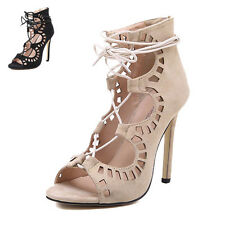Womens High Heels Pumps Sandals Strappy Cut Out Lace Up Gladiators Solid Shoes