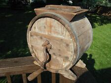 ANTIQUE WOODEN BARREL BUTTER CHURN / Stamped RICHMOND Va.