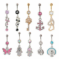 1PC Bars Crystal Dangly Reverse Drop Body Piercing Belly Button Ring Navel Bar