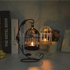 Black/White Hanging Birdcage Candle Holder Tealight Candlestick Stand Decor