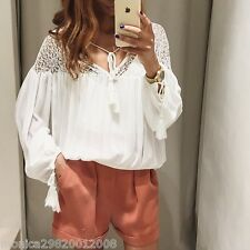 ZARA OFF WHITE PUFFED SLEEVE LACE BLOUSE TOP SHIRT XS, S, M