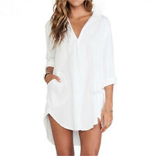 Fashion Women Long Sleeve Tunic V Neck Loose Tops Casual Tee Sexy T-Shirt Blouse