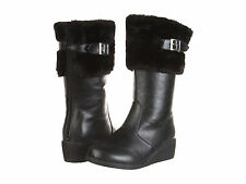 Laura Ashley LA132 Girls Faux Leather & Fur Winter Boots Size 11-5 Black Brown