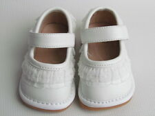 Toddlers Shoes - Squeaky Shoes - White with Ruffle, Mary Jane, Up to Size 7