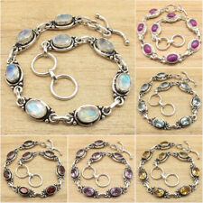 Variation Bracelet, 925 Silver Plated RAINBOW MOONSTONE & Other Gemstones GIFT