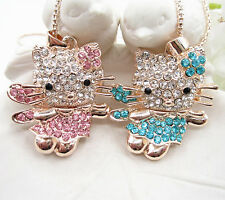 2 Colors Cute Lady Crystal Wing Kitty Cat Faery Pendant Chain Sweater Necklace