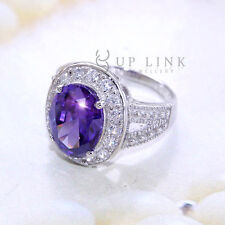 UP LINK Cocktail Oval Purple & White Cubic Zirconia Sterling Silver Women Ring